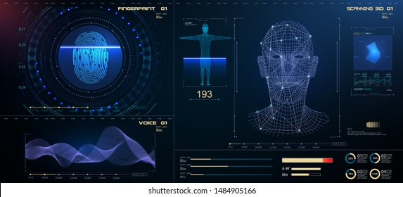 Biometric Identification or Recognition System of Person. The facial recognition technology Fingerprint, Voice.Recognition  System Concept (Authentication). Set HUD GUI UI Elements.