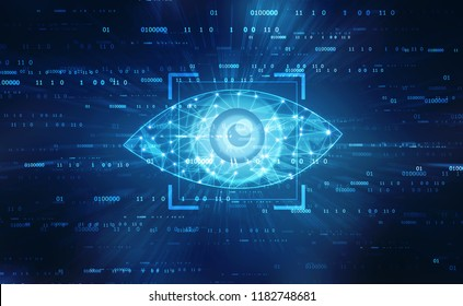 Biometric screening eye, Digital eye, Security concept, cyber security Concept
