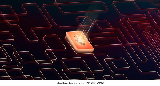 Biometric Verification theme , Info graphic banner background.