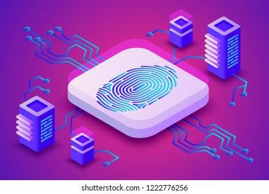 Biometrics blockchain technology illustration of digital fingerprint security for cryptocurrency concept. Data communication server and secure access scanner on purple ultraviolet background