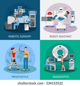 Bionic 2x2 design concept with robotic surgery  diagnostic equipment orthopedic prosthetics compositions flat  illustration