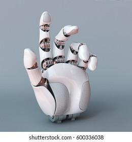 Bionic hand, robot arm 3d rendering
