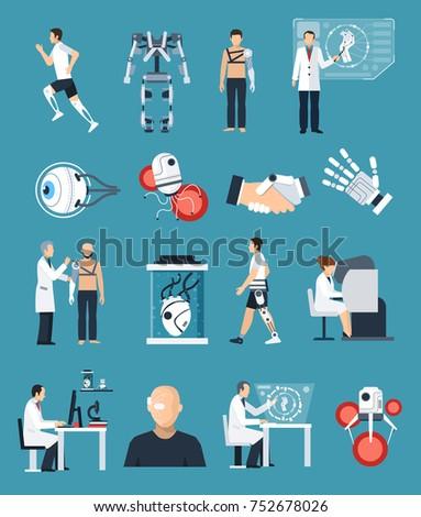 Bionics Icons Set Technology Science Symbols Stock Illustration