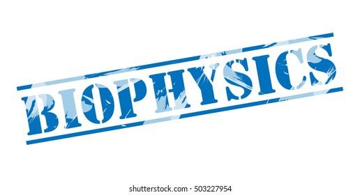 biophysics blue stamp on white background
