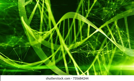 Biotech genetics and DNA double helix nucleic acids modification chemistry of organic molecules for stem cell medical research 3D rendering