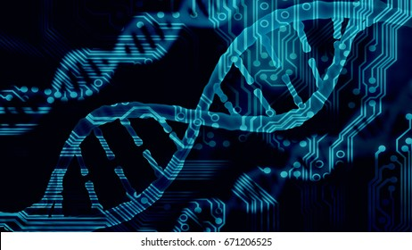 Biotechnology bioinformatics concept of DNA and circuit board, DNA over PC electronics board  3d render