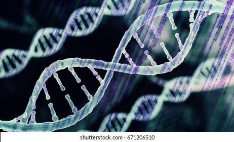 Biotechnology bioinformatics concept of DNA and computer code running in background, DNA and programming code , 3d render