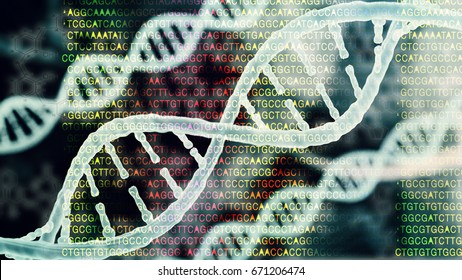 Biotechnology bioinformatics concept of DNA and protein letter background, DNA and protein sequence 3d render
