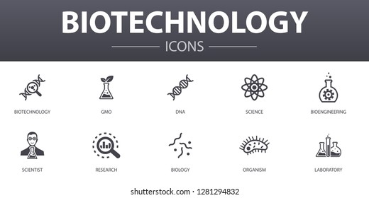 Biotechnology simple concept icons set. Contains such icons as DNA, Science, bioengineering, biology and more, can be used for web, logo, UI/UX