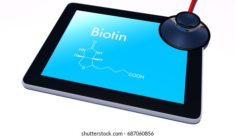 Biotin formula on tablet with stethoscope, isolated image. 3D Rendering.