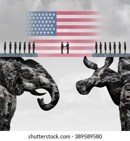 Bipartisan agreement between the republican and democrat organiization as a symbol for a two party system with a flag of the United States connecting two mountain cliffs as an elephant and donkey.