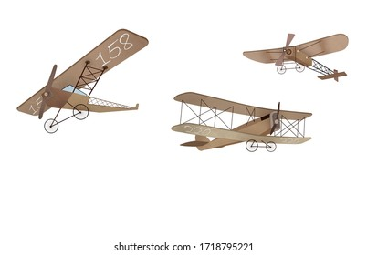 Biplane isolated child room wallpaper design
