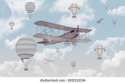 Biplane in the sky kids room wallpaper design