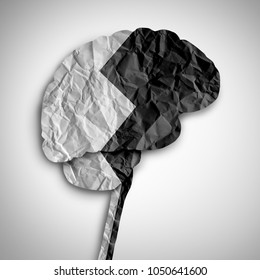 Bipolar brain disorder as a psychological illness concept as a thinking human organ divided in black and white as a medical symbol for psychiatric imbalance in a 3D illustration style.