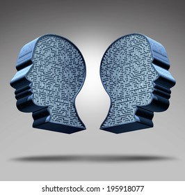 Bipolar disorder concept as a human head divided in two pieces with a maze or labyrinth inside as a mental health care symbol and medical psychological metaphor for social behavior challenges.