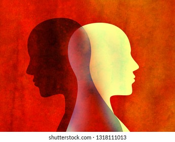 Bipolar disorder mind mental concept. Change of mood. Emotions. Dual personality. Split personality. Head silhouette of man