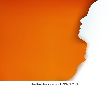 Bipolar disorder mind mental. Psychology and mental health. Double face. Mental disease. Metaphor. Split personality. Mood disorder. Dual personality. 2 heads silhouettes
