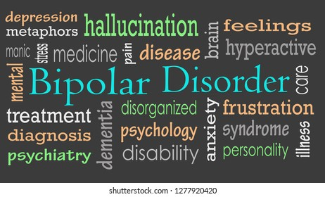 Bipolar disorder word cloud concept - Illustration