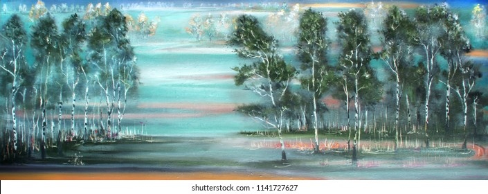 Birch forest near the field, oil painting landscape