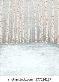 birch forest pastel color soothing background texture illustration