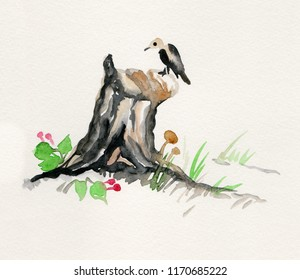 birch stub with mushrooms and bird