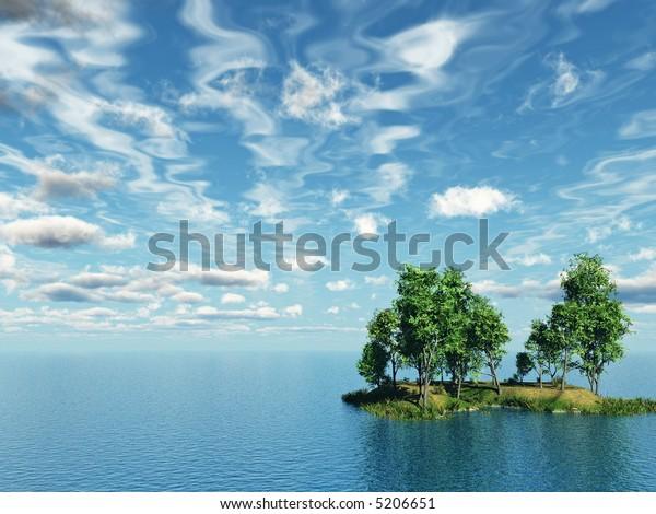 Birch trees on small lake island - 3d illustration