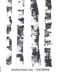 Birches. Watercolor illustration.