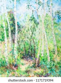 birchwood in summer sunny day, pointillism