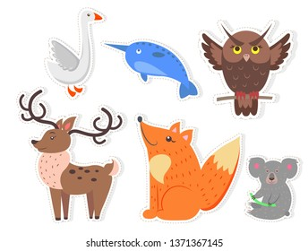 Bird animals and fish isolated stickers on white background. goose unicorn brown owl noble deer red fox cute coala bear raster illustrations.cartoon friendly creatures collection.