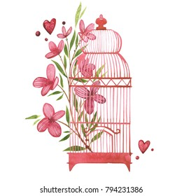 Bird cage with flowers. Watercolor pink set of elements for Valentine's day. Scrapbook design elements. Typography poster, card, label, banner design set.