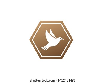 Bird or dove open wings and fly inside a circle for logo design illustration in the shape