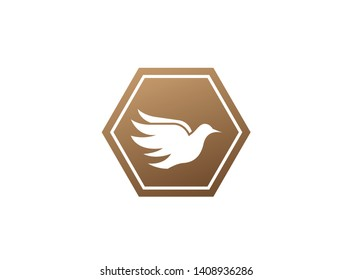 Bird dove open wings flying logo design illustration, pigeon in a shape icon
