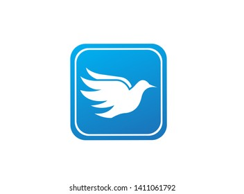 Bird dove open wings flying logo design illustration, pigeon in a square shape icon