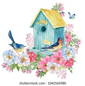 Bird house, swallow and blue bird, butterfly. Spring card watercolor illustration
