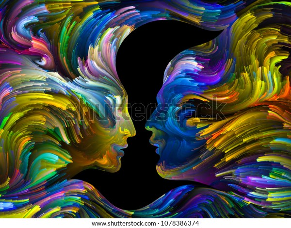 Bird of Love series. Canvas of colorful swirls and negative space forming male, female profiles and bird profiles on the subject of relationship, art and love.
