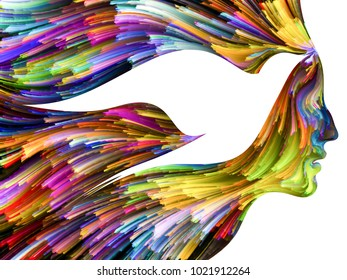 Bird of Mind series. Abstract composition of woman and bird profile executed with colorful paint suitable in projects related to creativity, imagination, spirituality and art