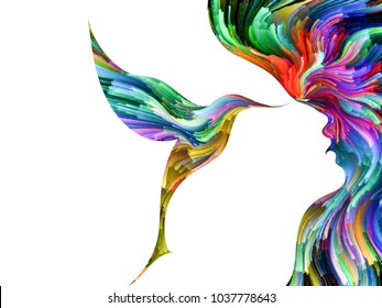 Bird of Mind series. Composition of woman and bird profile executed with colorful paint on the subject of creativity, imagination, spirituality and art