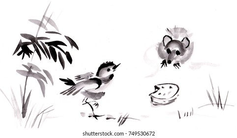 Bird and mouse and piece of cheese, sumi-e