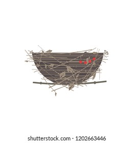 Bird nest icon. Cute Comic flat cartoon. Minimalism simplicity wildlife design. Birdhouse straw grass basket, tree branch. Birds home silhouette. Scavenging birdwatching card element background