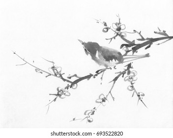 Bird on a cherry branch sumi-e ink painting