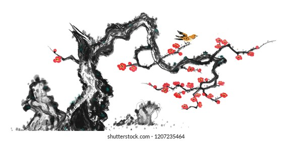 Bird and plum blossoms Chinese painting