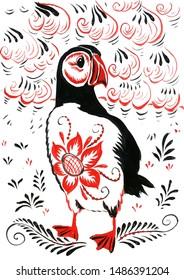 bird Puffin on the shore Oceana Khokhloma painting