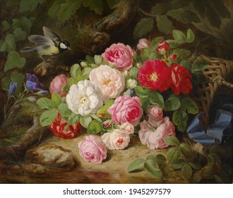 Bird and roses  . Still life. In the style of the ancient Dutch masters. Painting oil canvas 2021.