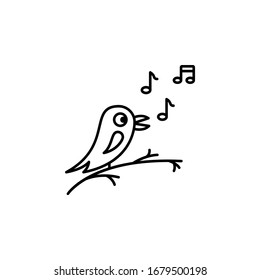 Bird, singing icon. Simple line, outline illustration elements of spring icons for ui and ux, website or mobile application