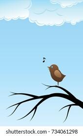 Bird singing song on tree branch