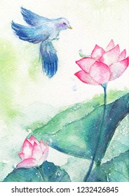 Bird with worm on lotus flawer, water color art