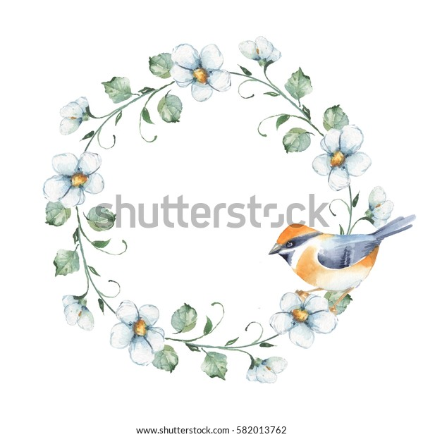 Bird and wreath. Watercolor painting. Floral frame