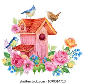 Birdhouse birds and flowers. watercolor illustration for decoration of cards, embroidery
