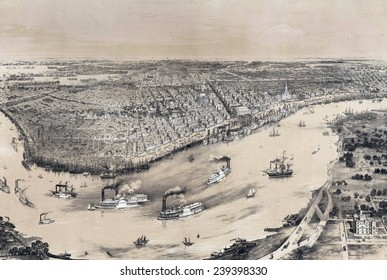 Birds' eye view of New-Orleans in 1851,with dense riverboat traffic on the Mississippi River.