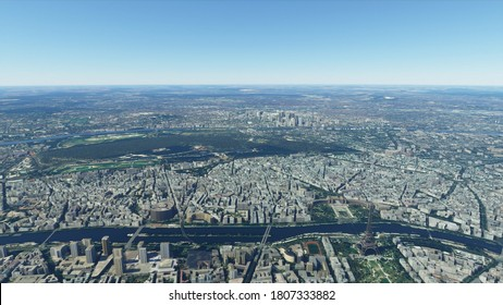 Bird's eye view of Paris. Paris aerial photography. Paris from above. Sights of Paris. Elven Tower in the city. Photorealistic 3D render.